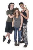 Trzy nastolatka ubierającego jako zaciężni żołnierze Zdjęcie Royalty Free