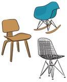 Trzy nowożytnych projekta krzesła Fotografia Stock