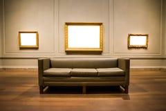 Trzy obrazek ram Ozdobnej galerii sztuki eksponata Muzealny puste miejsce Whi Obrazy Stock