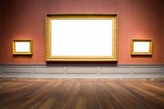 Trzy obrazek ram Ozdobnej galerii sztuki eksponata Muzealny puste miejsce Whi Zdjęcie Royalty Free