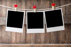 Trzy obrazka ramy Stary obwieszenie na clothesline Zdjęcie Stock