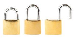Trzy ochrony kłódki Zdjęcie Stock