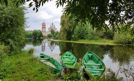 Trzy łodzi na rzece Fotografia Royalty Free