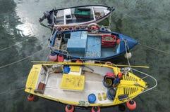 Trzy łodzi rybackiej w Mousehole Zdjęcia Stock