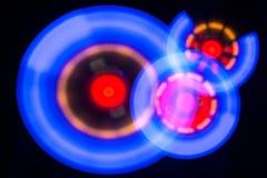 Trzy okregów rozjarzona spirala z wirować światło obraz stock