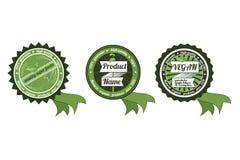 Trzy organicznie, gmo/ECO odznaki z faborkiem/non Obrazy Stock