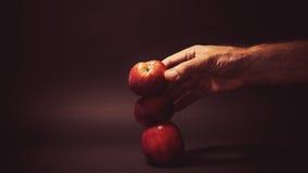 Trzy organicznie jabłka Fotografia Royalty Free