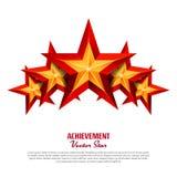 Trzy osiągnięcie wektoru gwiazdy Realistyczny znak Złoty dekoracja symbol 3d połysku ikona Odizolowywająca Na Białym tle royalty ilustracja