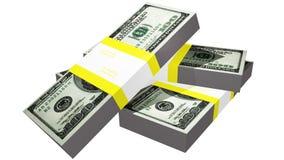 Trzy paczki dolarowi rachunki Obraz Royalty Free