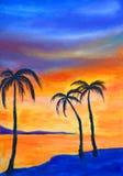 Trzy palmy na błękitnym brzeg przeciw tłu pomarańczowy niebo ilustracji
