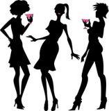 Trzy partyjnych dziewczyn sylwetki Fotografia Royalty Free