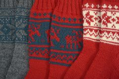 Trzy pary tradycyjne woolen skarpety Zdjęcia Stock