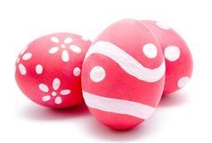 Trzy perfect kolorowego handmade Easter jajka Obraz Royalty Free