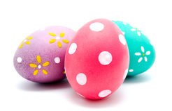 Trzy perfect kolorowego handmade Easter jajka Obrazy Stock
