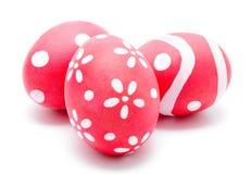 Trzy perfect kolorowego handmade Easter jajka Obrazy Royalty Free