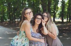 Trzy pięknego młodego boho modnej eleganckiej dziewczyny chodzi w parku Fotografia Royalty Free
