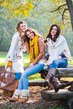 Trzy pięknej młodej kobiety w parku zdjęcia royalty free