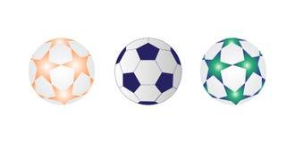 Trzy piłki nożnej piłki wektoru ilustracja ilustracji