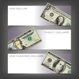 Trzy pieniądze sztandaru Zdjęcia Royalty Free