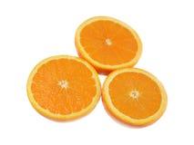 Trzy połówki pomarańcze Zdjęcia Stock