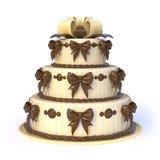 Trzy podłoga żółty tort z tasiemkowymi łękami 3d Zdjęcia Royalty Free