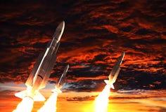 Trzy Podskakują Biorą Daleko Na tle Apokaliptyczny niebo royalty ilustracja