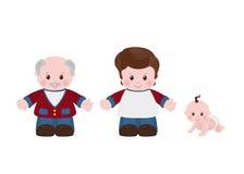 trzy pokolenia Mężczyzna różni wieki ilustracji