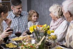 Trzy pokolenia przy stołem Obraz Stock