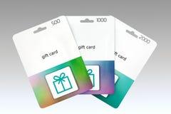 Trzy prezent karty Fotografia Stock