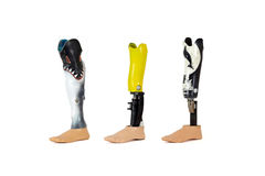 Trzy protetycznej nogi dla pływać. Zdjęcia Royalty Free