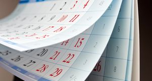 Trzy prześcieradła kalendarz Zdjęcie Royalty Free