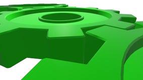 Trzy przekładni zielonego koloru 3d animacja Biały tło Alfa kanał z bliska ilustracji