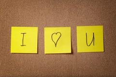 Trzy przypomnienie kleistej notatki kocham ciebie tekst Zdjęcie Stock