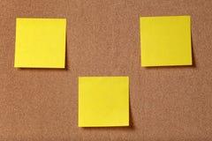 Trzy przypomnienie kleistej notatki na korek desce Obraz Stock