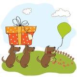 Trzy psa który oferuje duży prezent royalty ilustracja