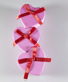 Trzy Różowego serca prezenta Kształtnego pudełka Obrazy Stock