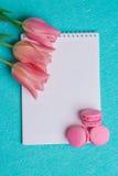 Trzy różowego tulipanu i trzy różowego macaroons Obrazy Stock