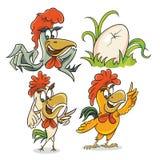 Trzy różny kogut i jajko ilustracja wektor