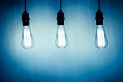 Trzy rocznik żarówki lampy Obraz Stock
