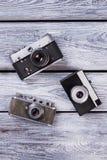 Trzy rocznik fotografii kamery Obraz Royalty Free