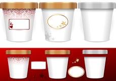 Trzy rodzajowych filiżanki dla lody z etykietkami Obraz Royalty Free