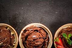 Trzy rodzaju czekoladowy lody Zdjęcie Stock