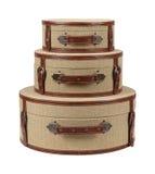 Trzy Round Deco Burlap walizki Zdjęcie Royalty Free