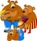 Trzy rozochocony niedźwiedź Zdjęcie Royalty Free