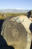 Trzy rzek petroglifu Krajowy miejsce, a biuro Gruntowy zarządzania miejsce, cechy więcej niż 21.000 rodowitych amerykan indianina Zdjęcie Stock