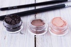 Trzy słoju z kobiety ` s kosmetykami Zdjęcie Stock
