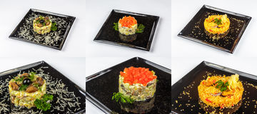 Trzy sałatki dla boże narodzenie stołu Zdjęcie Stock