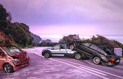 Trzy samochodów wypadek Rozbijający na drodze na lokacji fotografia royalty free