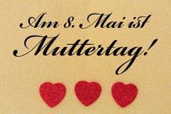 Trzy serca i tekst dla matka dnia Zdjęcie Royalty Free