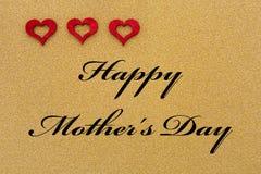 Trzy serca i tekst dla matka dnia Zdjęcia Royalty Free